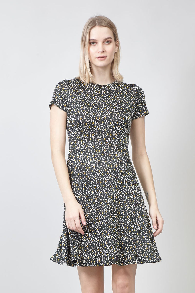 Green | Ditsy Floral Print Tea Dress