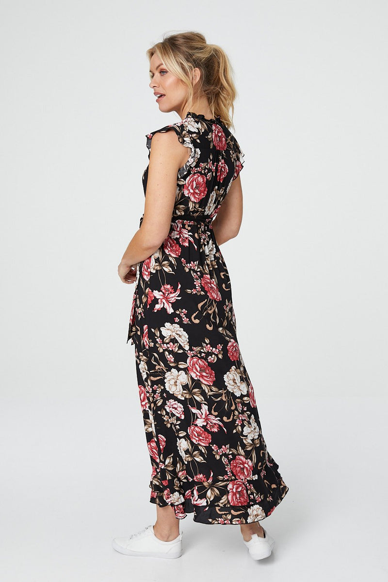 Black | Floral V-Neck Midi Dress