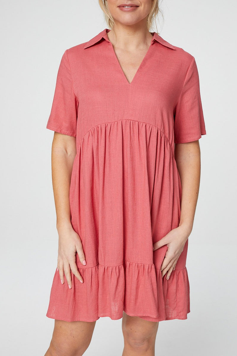 Coral | Short Sleeve Tiered Smock Dress