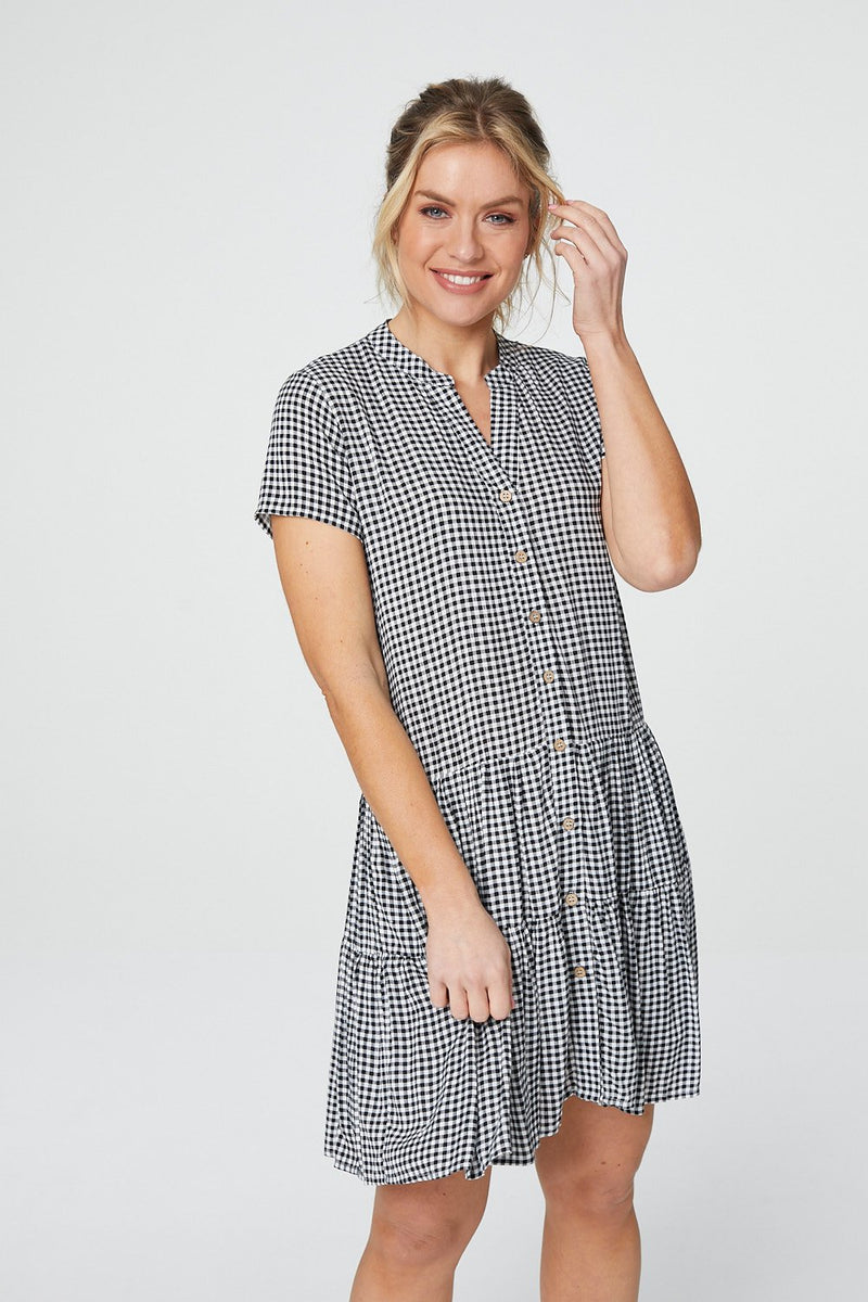 Black And White | Checked Button Front Smock Dress