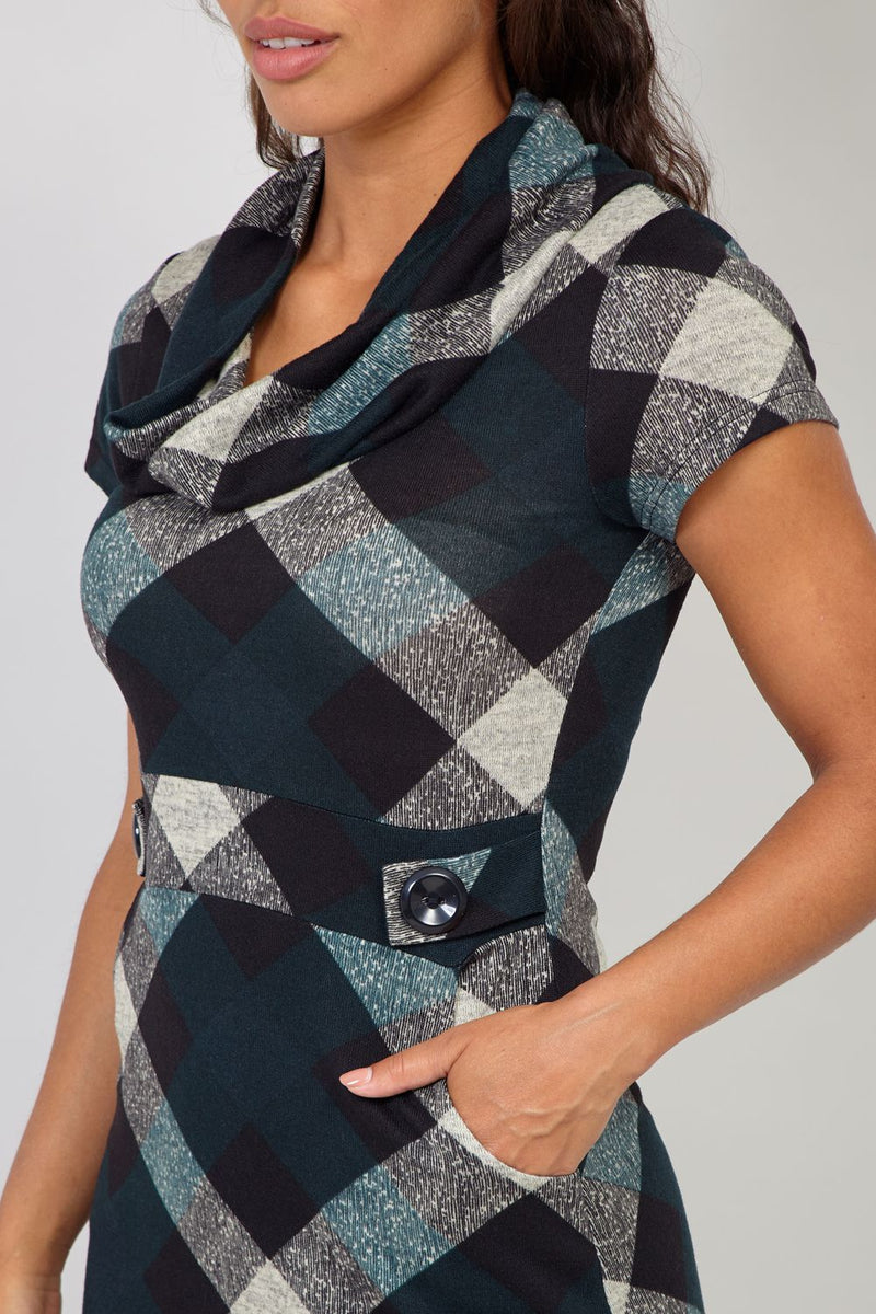 Green | Plaid Cowl Neck Pocket Dress