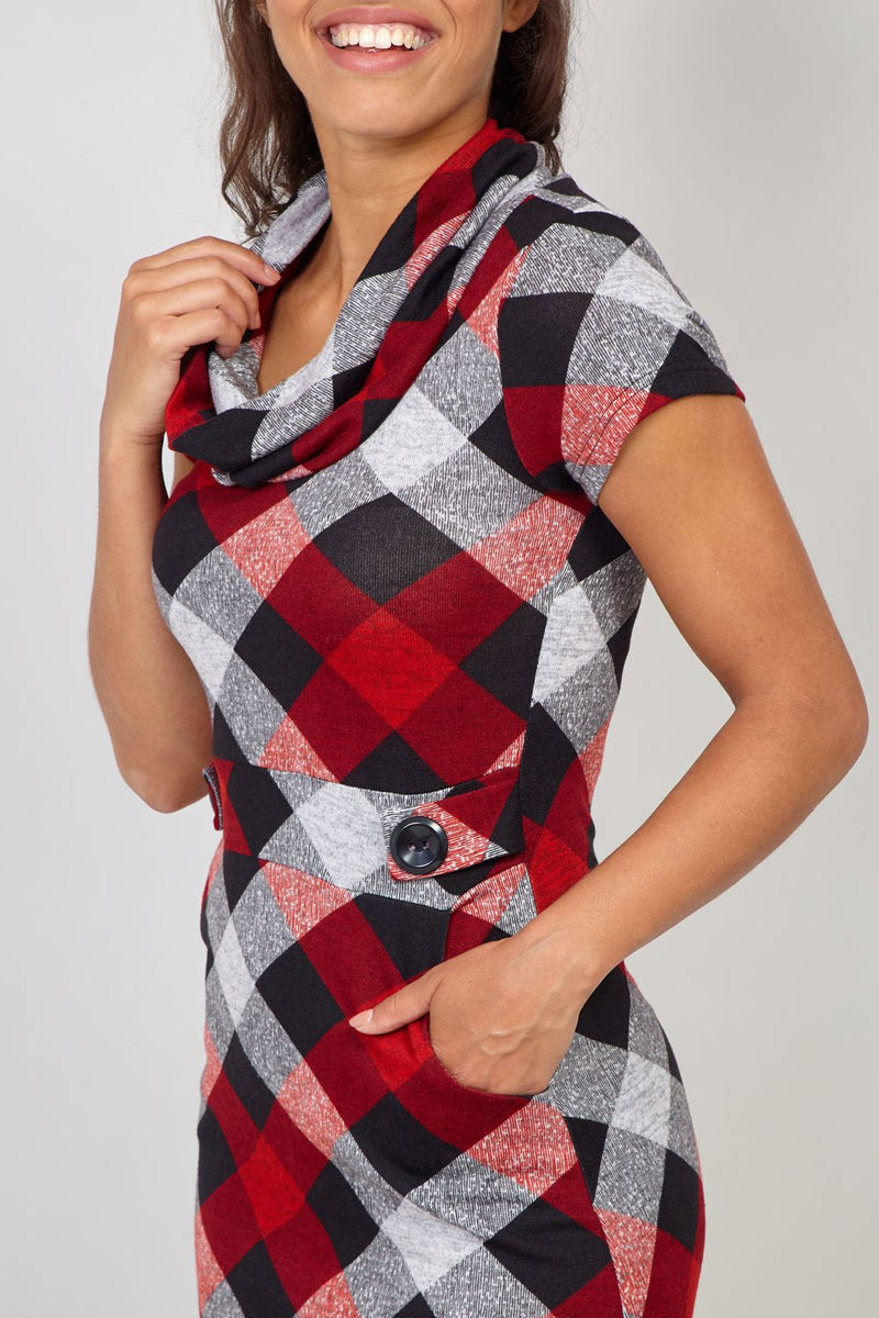 Red | Plaid Cowl Neck Pocket Dress
