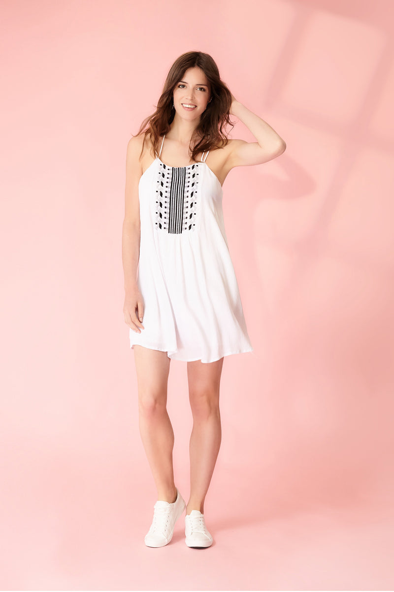 White | Tribal Cami Dress | Izabel London