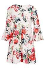Floral Flare Sleeve Dress - Izabel London