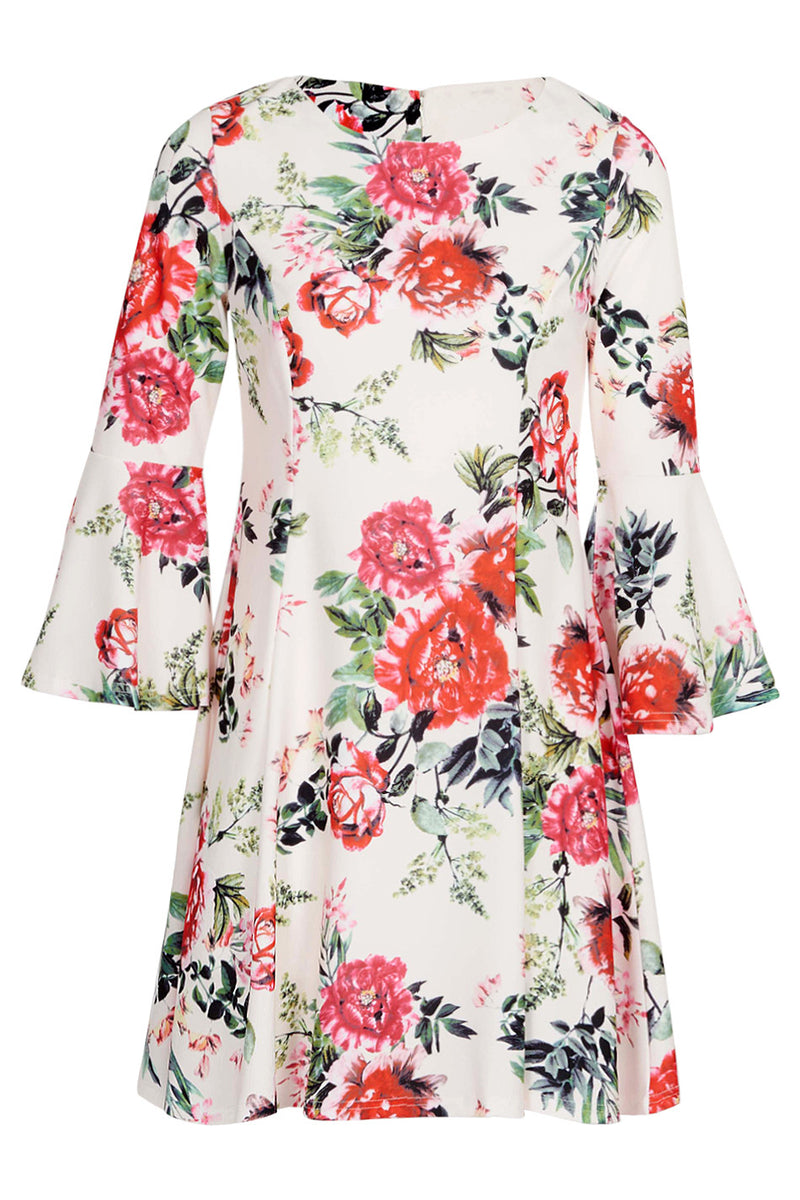 Cream | Floral Flare Sleeve Dress