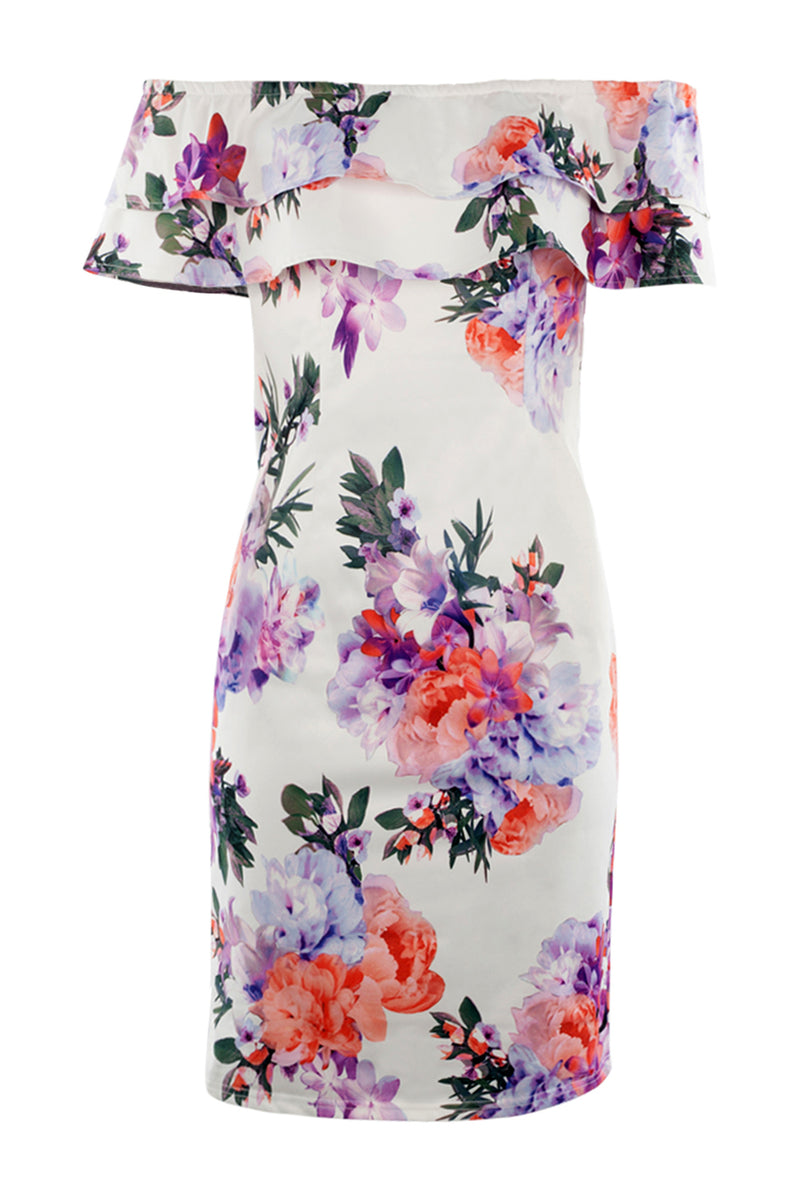 White | Floral Bardot Midi Dress