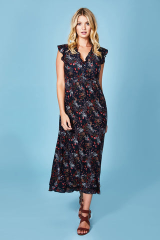 Spring Floral Ruched Midi Dress