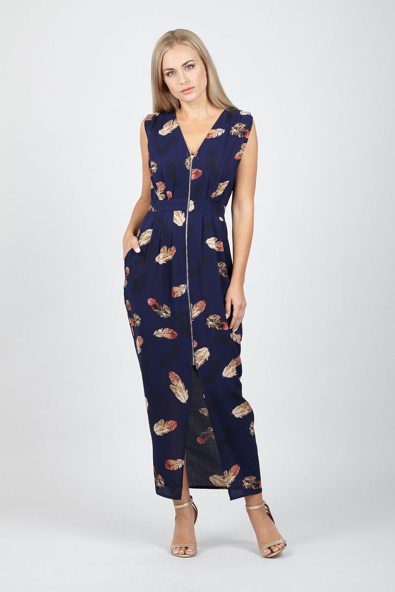 Zip Front Maxi Dress - Izabel London