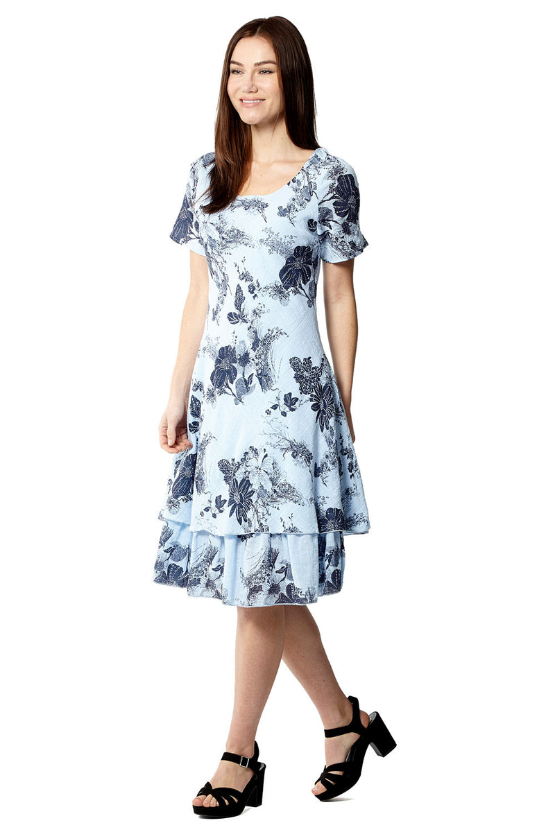 New Blue and White Floral Tea Dress Knee Length