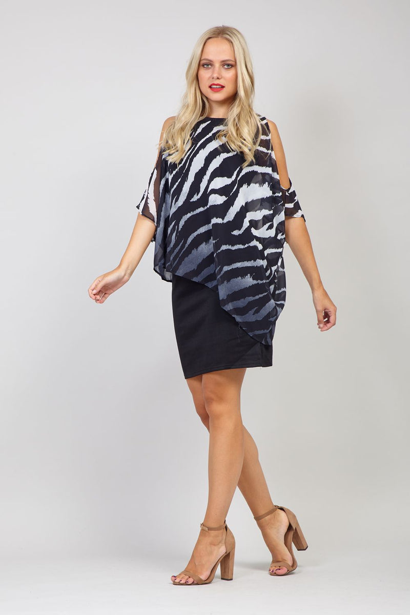 Black | Zebra Print Overlay Dress