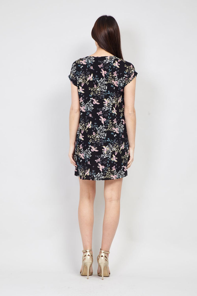 Bird Print Shift Dress - Izabel London
