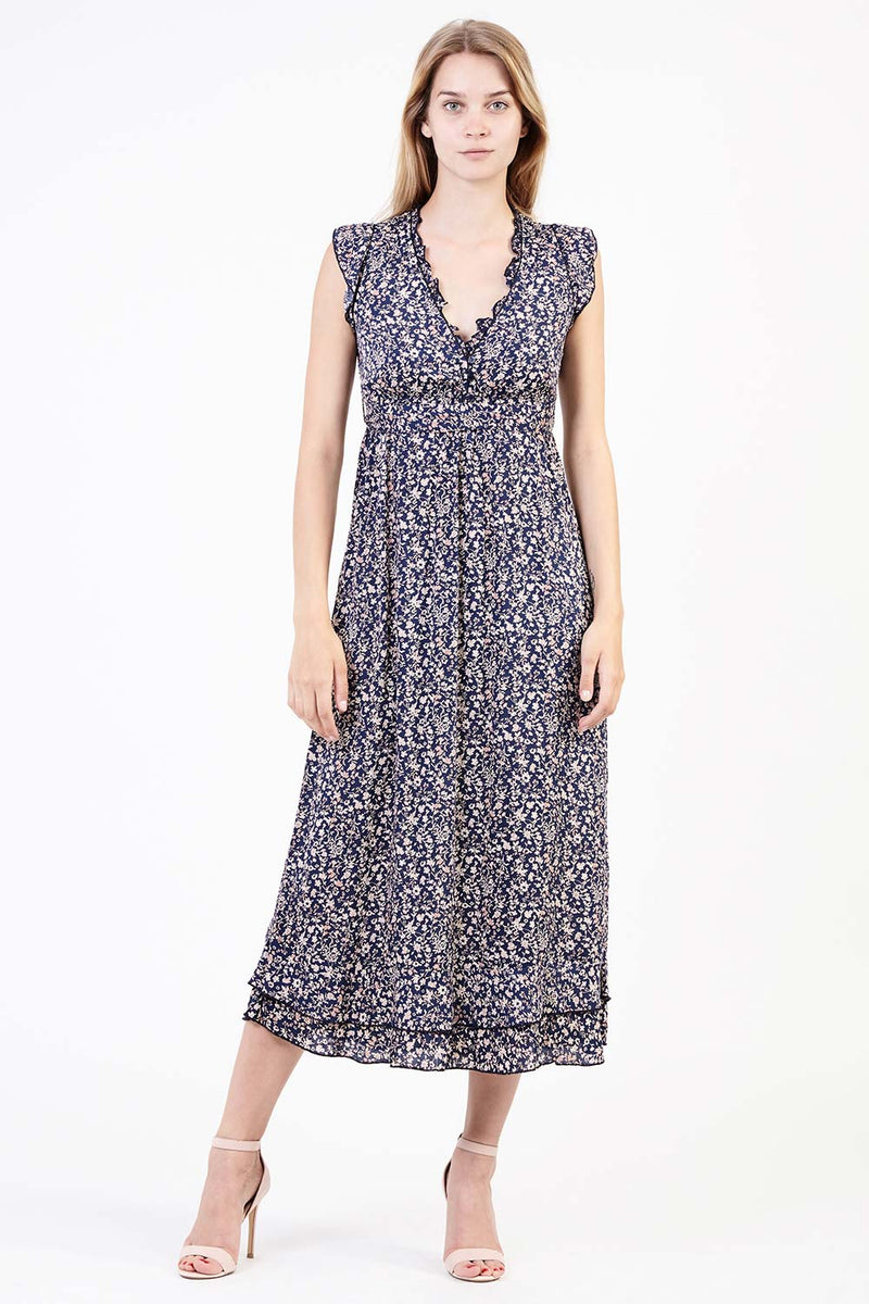 Navy | Ditsy Floral Midi Dress
