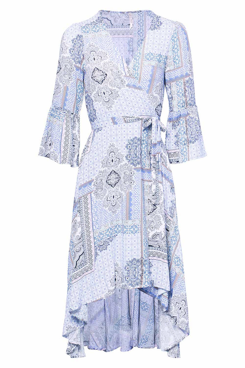 Blue | Tribal Wrap Dress