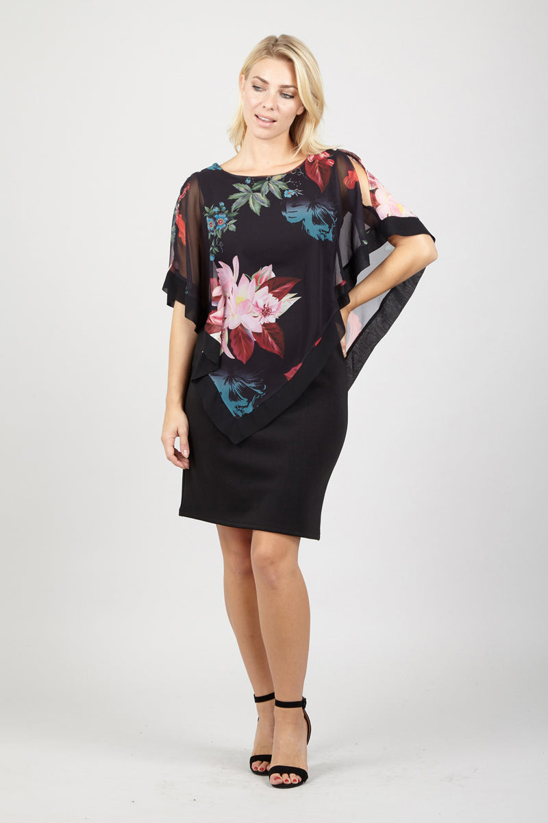 Floral Overlay Dress - Izabel London