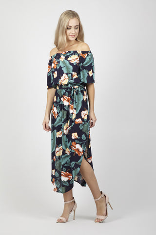 Curve Ditsy Floral Bardot Dress