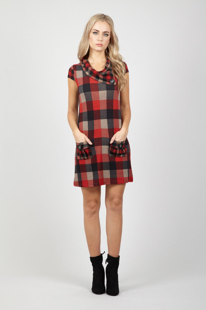 Red | Checked Tunic Dress | Izabel London