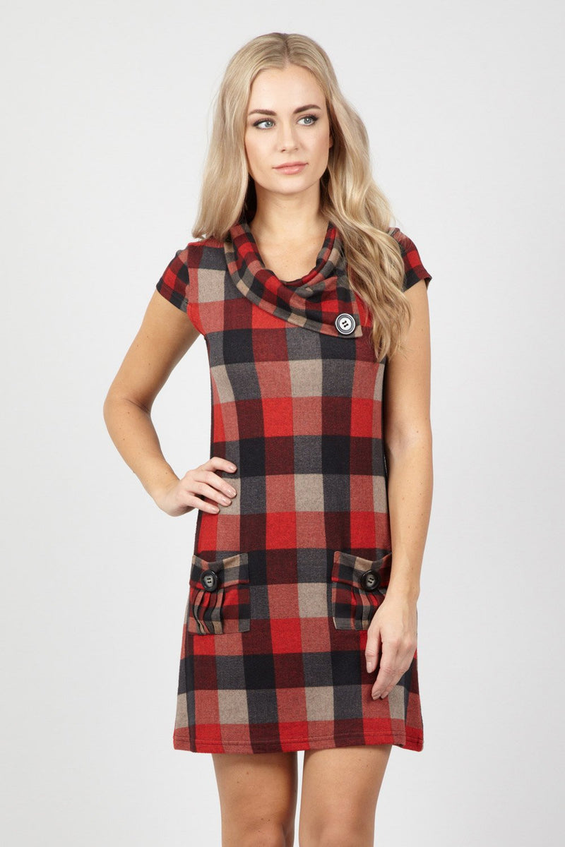 Red | Checked Tunic Dress