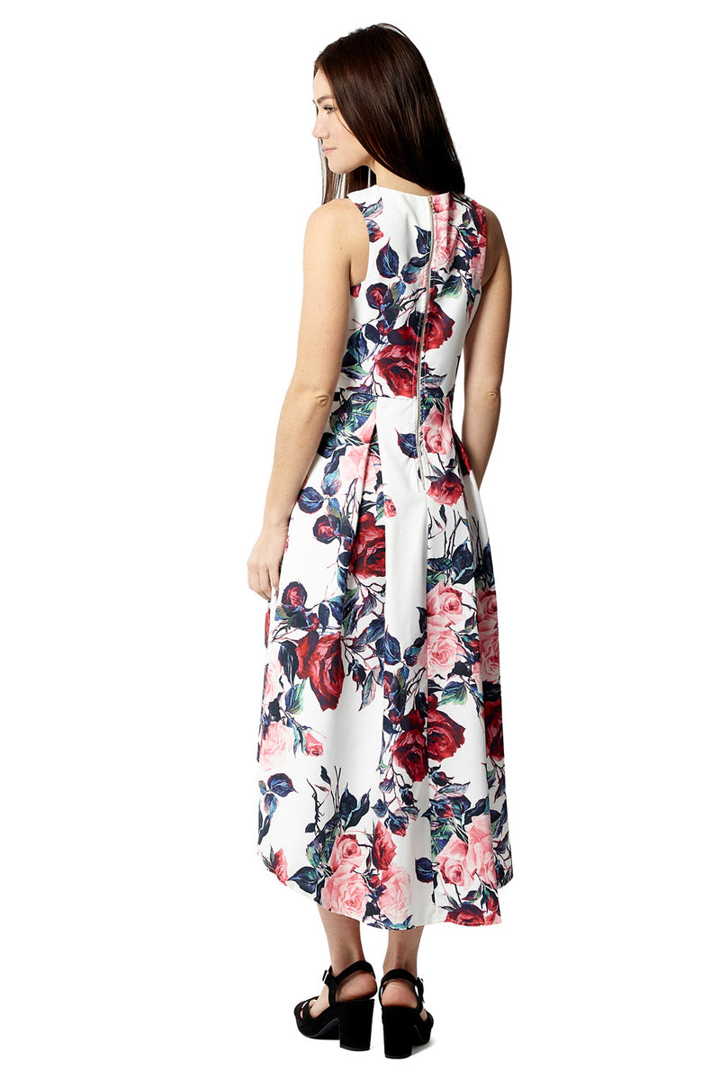 Floral High Low Dress - Izabel London