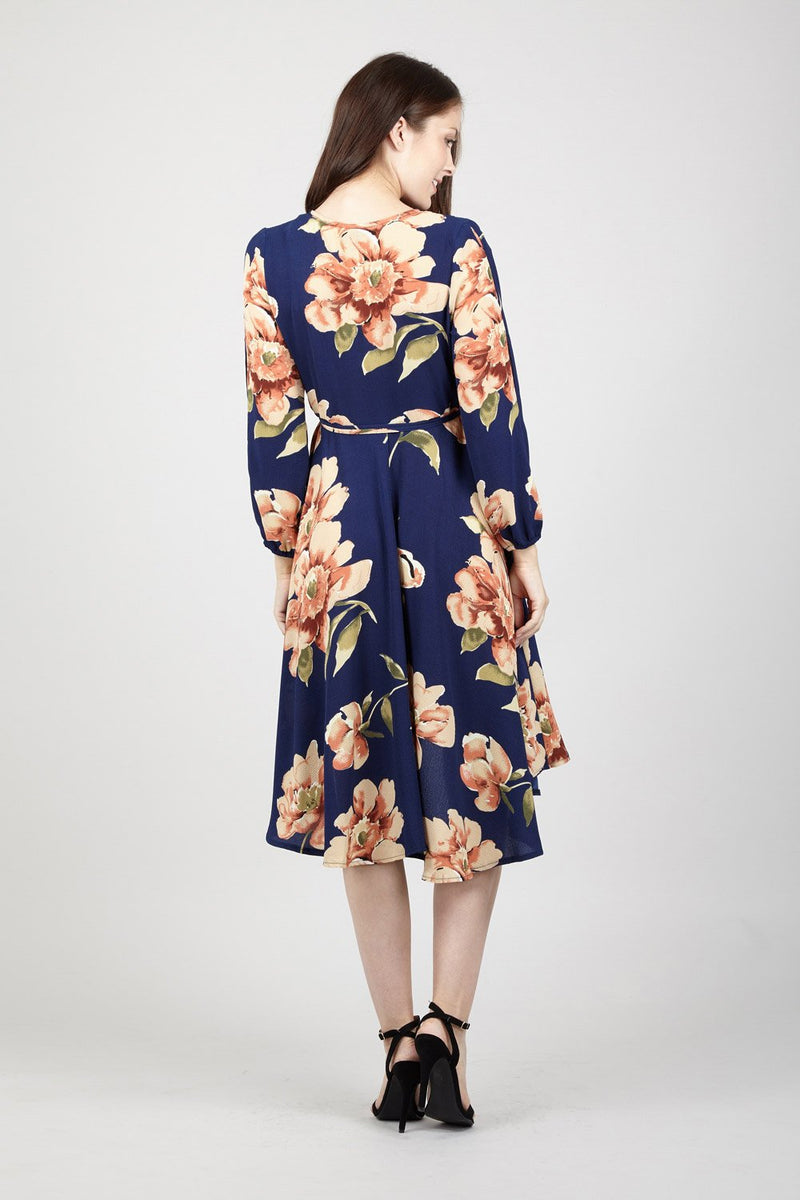 Navy | Floral Tie Waist Dress