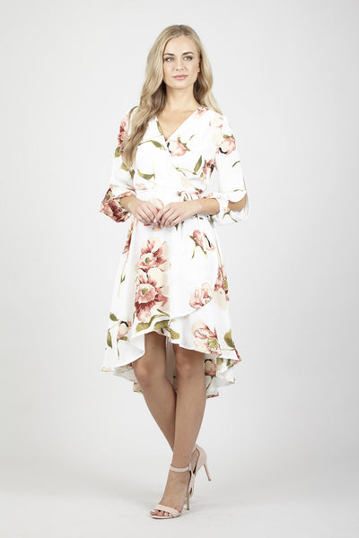 Floral Tie Waist Dress - Izabel London