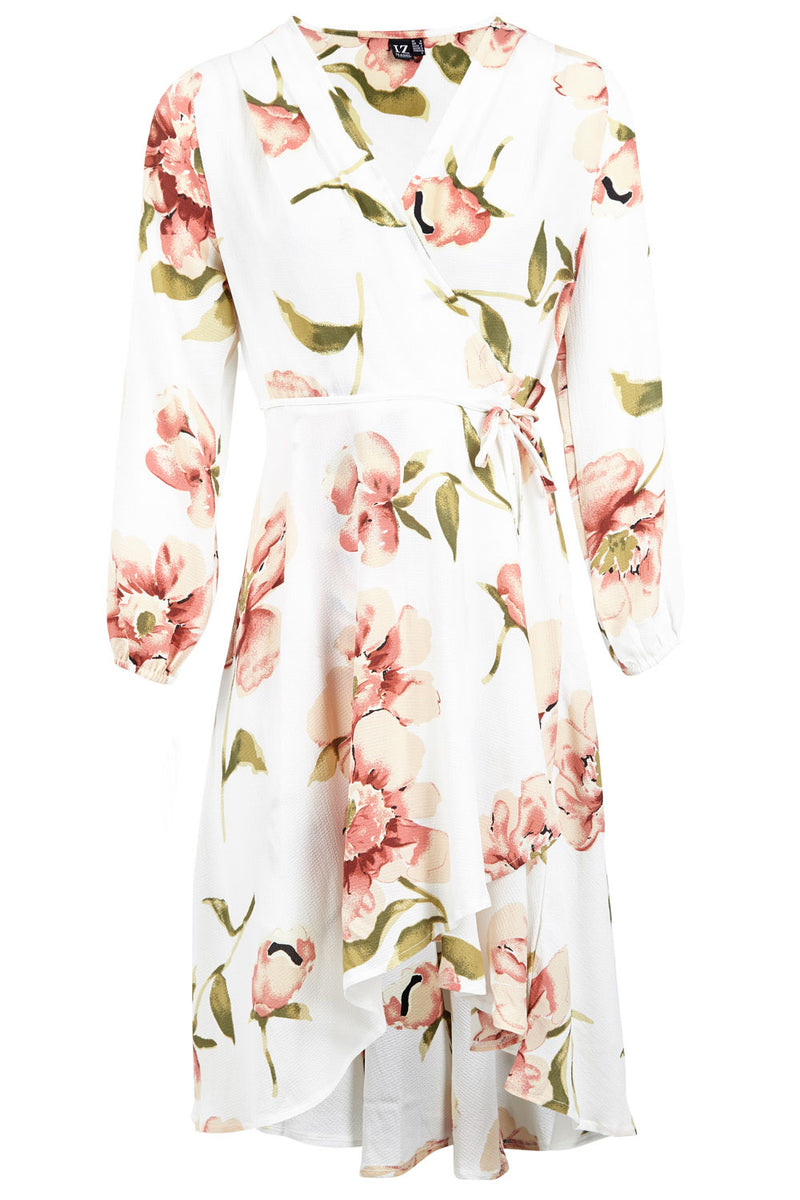 White | Floral Tie Waist Dress