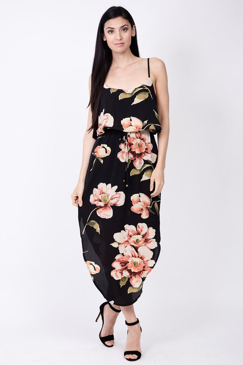 Black | Floral Cami Midi Dress