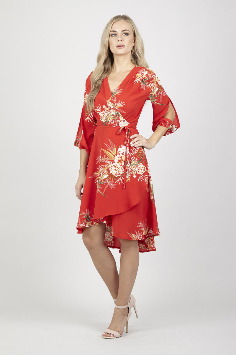 Red | Floral Wrap Dress