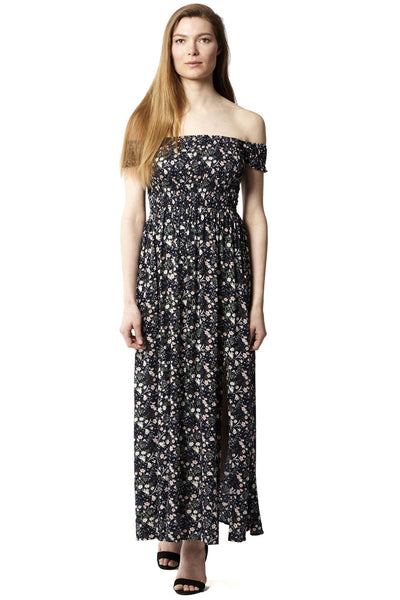 Navy | Ruched Floral Maxi Dress