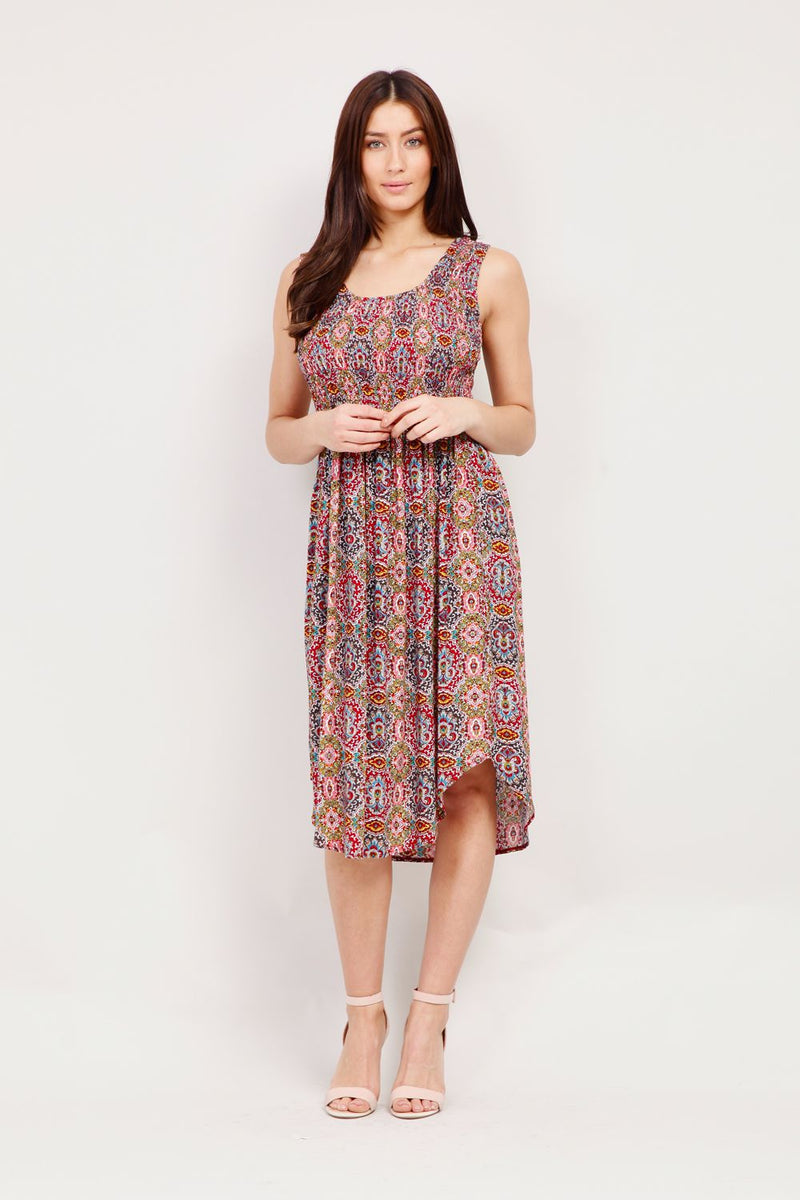 Eastern Print Midi Dress - Izabel London