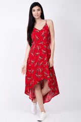 Red | Leaf Print Cami Dress