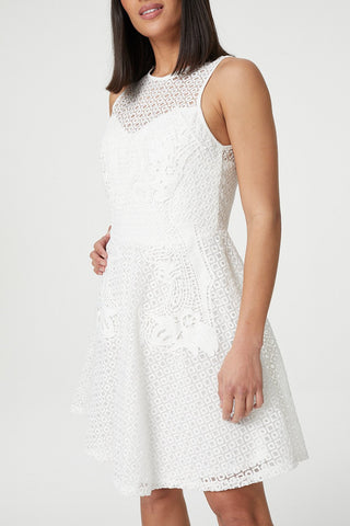 Curve Damask Print Sheer Overlay Shift Dress