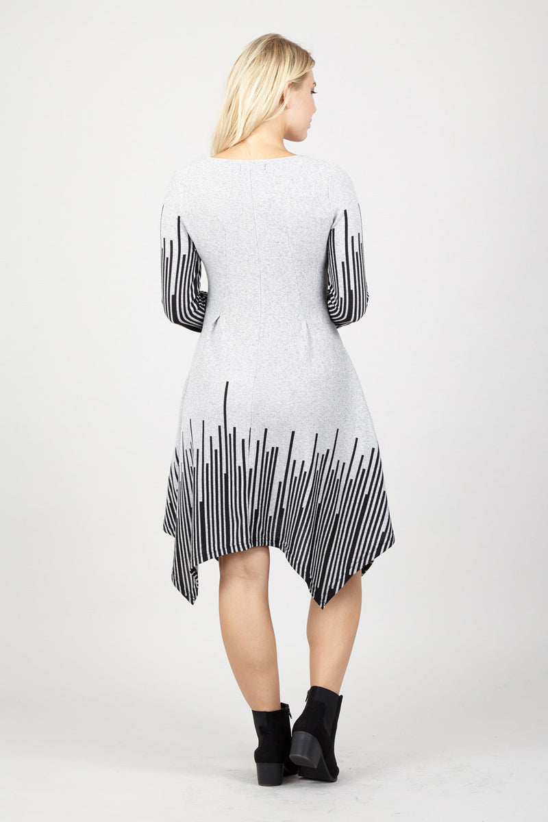 Striped Hanky Hem Dress - Izabel London