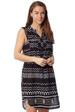 Mono Aztec Tunic Dress - Izabel London