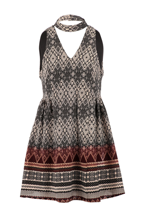 Digital Print Choker Dress - Izabel London