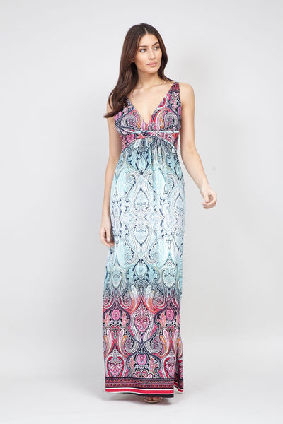 5b069dd687e Teal Tribal Ruched Maxi Dress