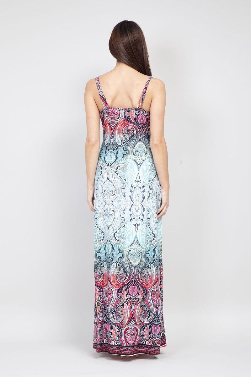 Teal | Tribal Ruched Maxi Dress