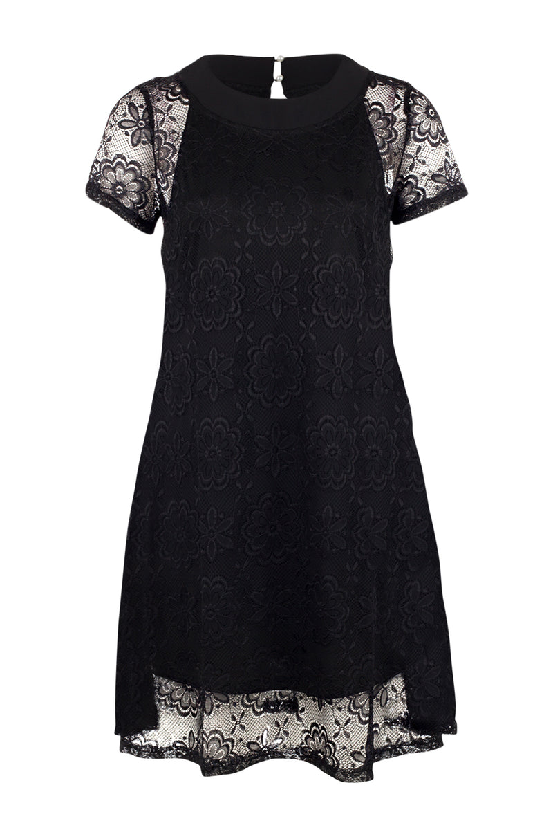 Black | Lace Overlay Dress