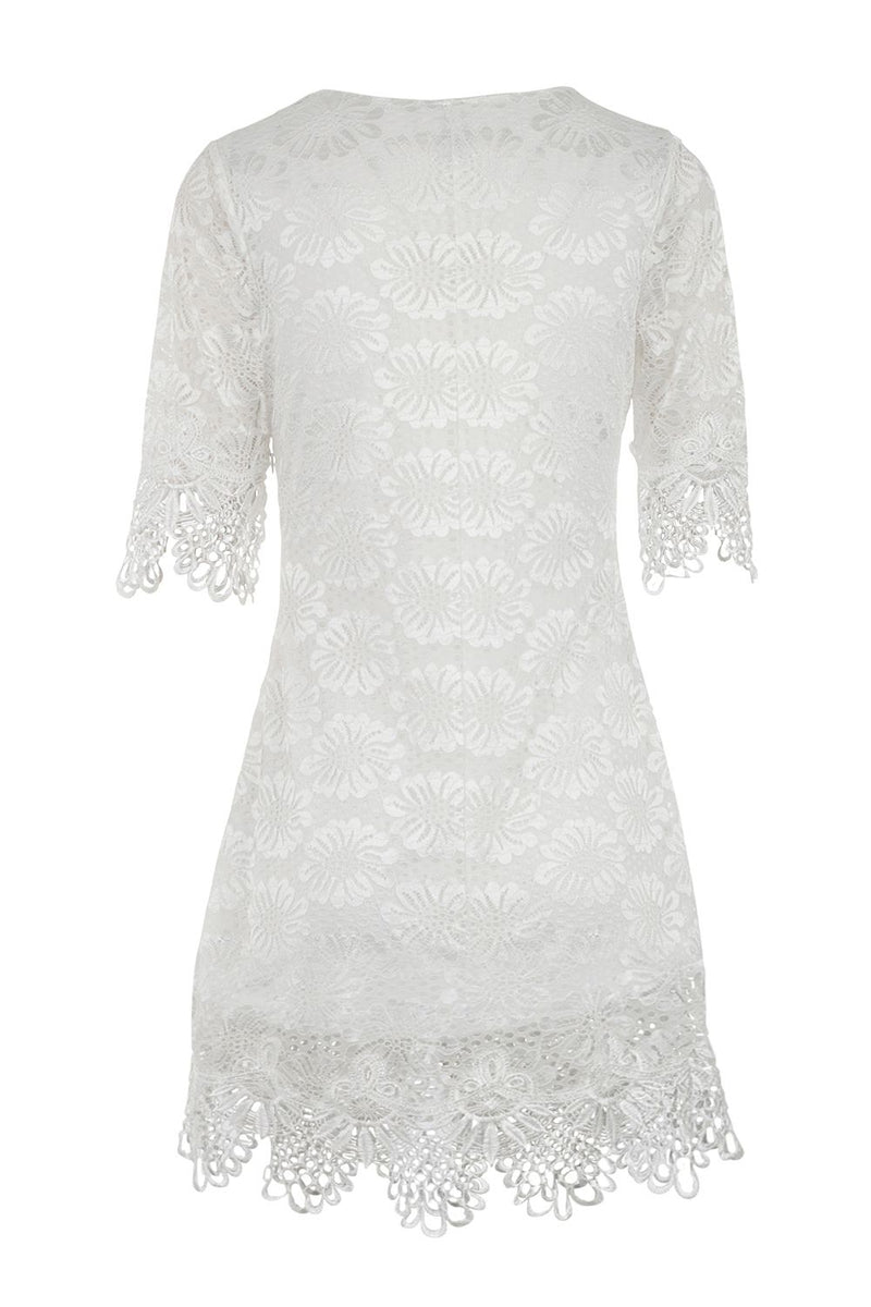 Cream | Lace Overlay Shift Dress