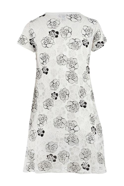 Lace Overlay Shift Dress - Izabel London