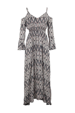 Aztec Animal Print Dip Hem Dress
