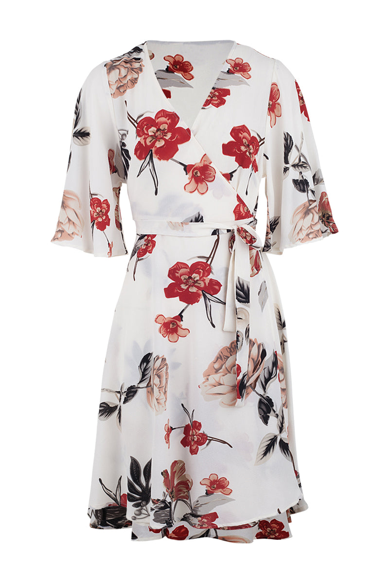Floral Wrap Front Tea Dress - Izabel London