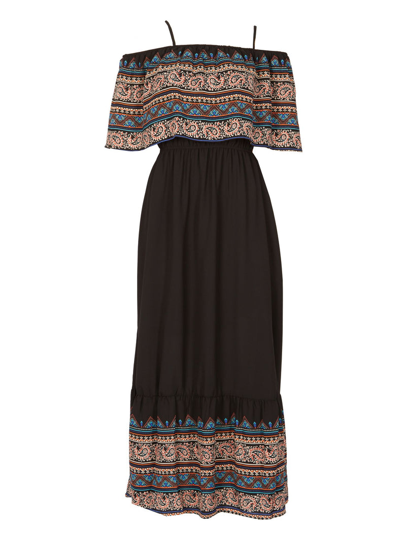 Black | Layered Boho Maxi Dress