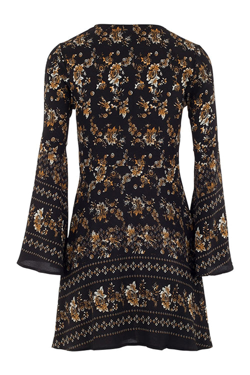 Floral Button Front Tunic Dress - Izabel London