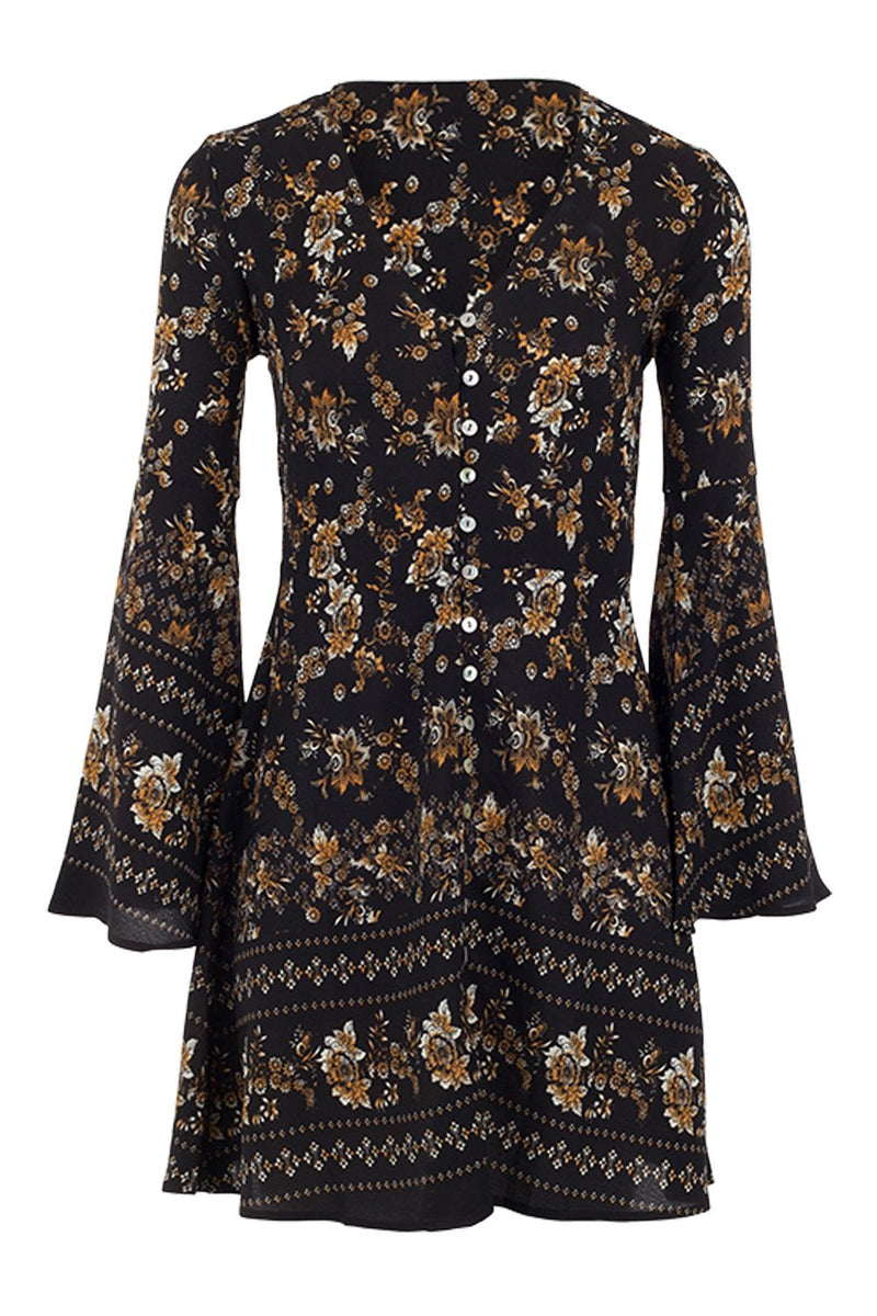 Black | Floral Button Front Tunic Dress
