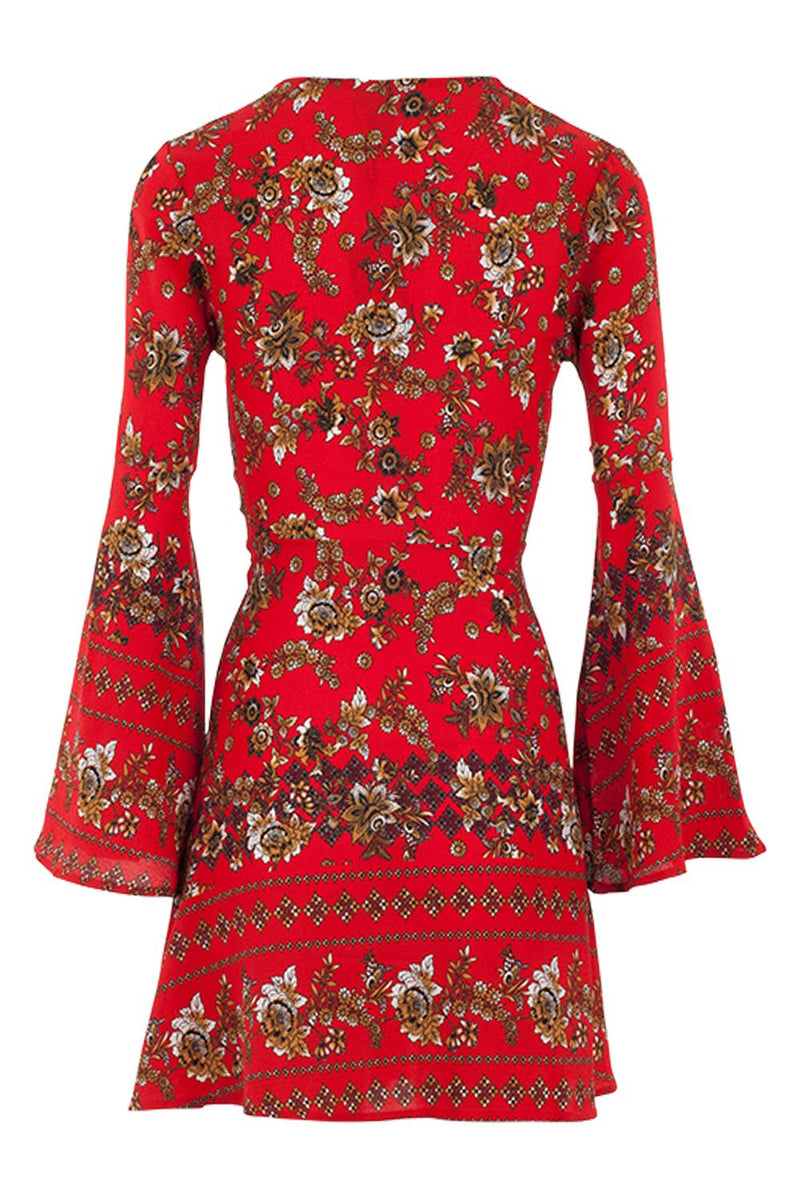 Red | Floral Button Front Tunic Dress