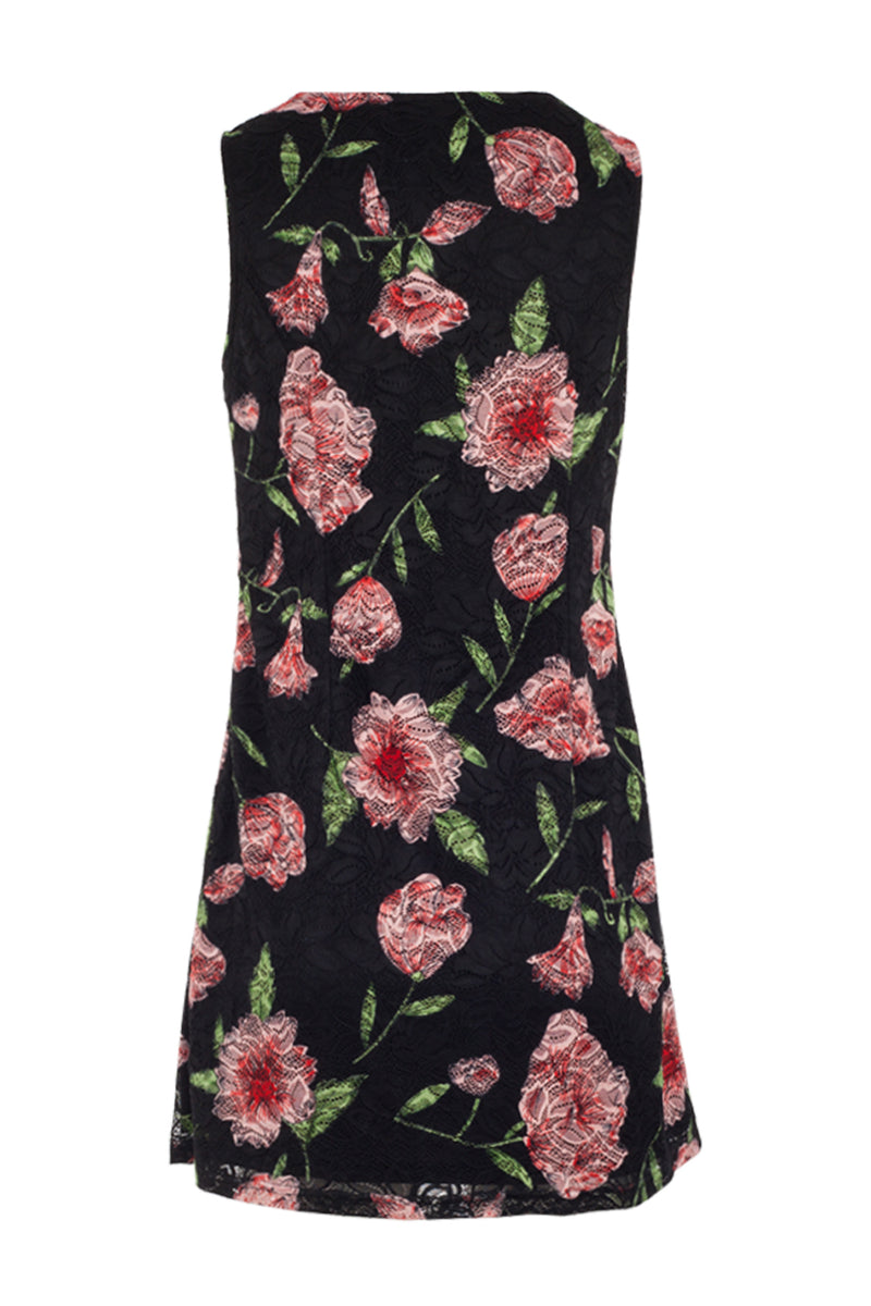 Black | Floral Overlay Swing Dress
