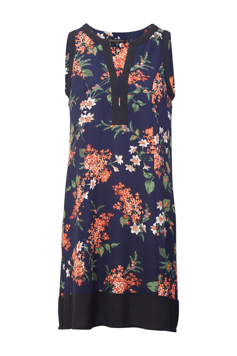 Navy | Floral Collarless Shift Dress