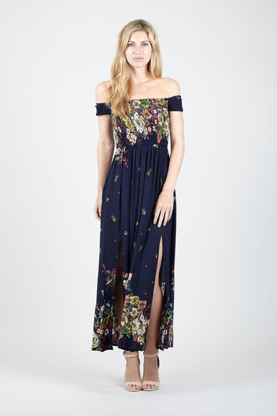 Floral Bardot Maxi Dress - Izabel London