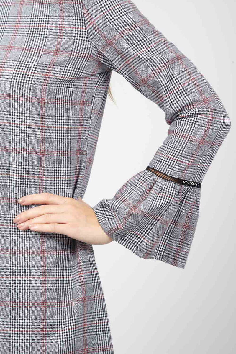 Grey | Check Flute Sleeve Shift Dress