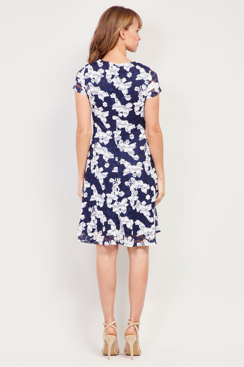 Navy | Floral Fit & Flare Dress